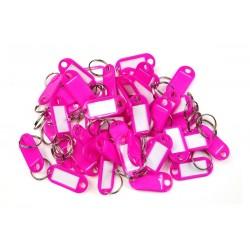 Műanyag kulcscímke egyoldalas / szett 50db rózsaszín / RJ.48.RUZ.50KS