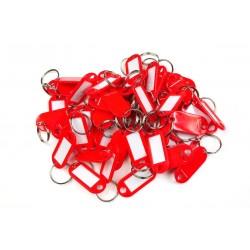 Műanyag kulcscímke egyoldalas / szett 50db piros / RJ.48.CRV.50KS