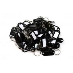 Műanyag kulcscímke egyoldalas / szett 50db fekete / RJ.48.CRN.50KS